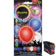 ballons à led, ballons lumineux, ballons fluos, ballons de baudruche, ballons hélium, ballons anniversaires, ballons lumineux Ballon à LED, Bleu Blanc Rouge, X 5