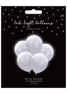 ballons à led, ballons lumineux, ballons fluos, ballons de baudruche, ballons hélium, ballons anniversaires, ballons lumineux, 5 Ballons Lumineux avec LED intégrée, Blancs