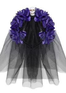 accessoire jour des morts halloween, couronne fleurs jour des morts déguisement, serre tête jour des morts déguisement, accessoire halloween, déguisement halloween jour des morts femme, Voile et Fleurs Violettes Jour des Morts