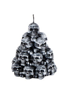 bougie halloween, décorations halloween, bougies faux crânes, chandeliers halloween, décoration pas cher halloween, Bougie Halloween, Amoncellement de Crânes