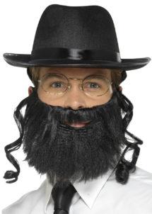 chapeau de rabbin, chapeau de rabin, chapeau avec rouflaquettes, chapeau avec cheveux, chapeau de rabbin, Chapeau de Rabbin, avec Barbe et Lunettes