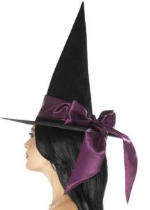 chapeaux halloween, chapeaux de sorcière, accessoires sorcières, déguisement de sorcière, chapeaux de sorcellerie, chapeau de sorcière pour halloween, beau chapeau de sorcière, Chapeau de Sorcière, Noeud Satin Violet