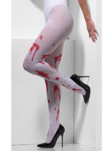 collants faux sang halloween, collants avec faux sang halloween, accessoires halloween, collants taches de faux sang, Collants Blancs Ensanglantés