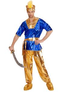 déguisement de sultan oriental, déguisement bollywood, déguisement oriental homme, déguisement oriental adulte, déguisement aladin, Déguisement de Sultan, Or et Bleu
