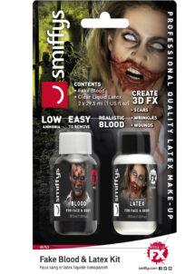 faux sang, latex liquide, latex liquide et faux sang, maquillage halloween, fausses blessures halloween, faux sang halloween, latex liquide halloween, Duo Faux Sang et Latex Liquide