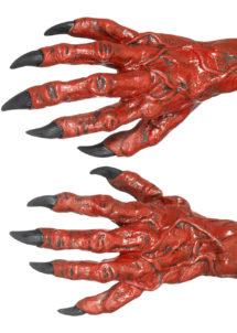 mains de monstre, gants mains de monstres, gants de monstres griffes rouges, gants de démon, Gants de Diable Rouges avec Griffes