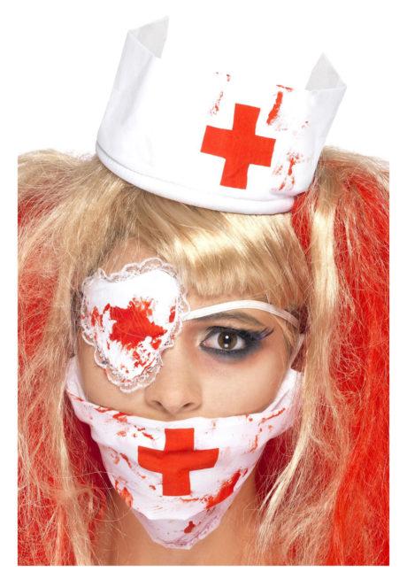 kit d'infirmière zombie, infirmière zombie halloween, masque d'infirmière ensanglantée, infirmière croix rouge halloween, Kit Infirmière Zombie Ensanglantée
