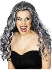 perruque grise femme, perruque renaissance grise, perruque halloween femme, perruque femme, Perruque Renaissance Vamp, Grise