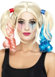 perruque harley quinn, perruque couettes roses et bleues, perruque harley quinn, perruque déguisement harleyquinn, Perruque Arlequine H Quinn, Rose et Bleue