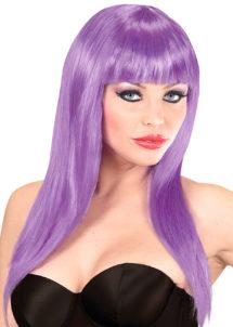 perruque femme, perruque violette, perruque frange, perruque cheveux longs, Perruque Vogue, Violette Lilas