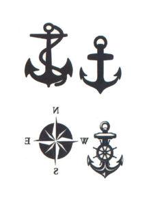 faux tatouages, tatouages ancre marine, tatouage marins, tatouages temporaires, tatous, Tatouages Temporaires, Ancres et Rose des Vents