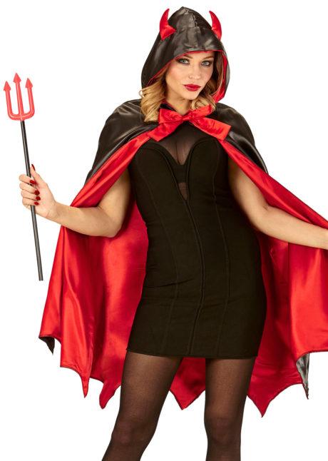cape de diable, cape halloween, déguisement de diable, diablesse halloween, déguisement de diable pour halloween, cape rouge halloween, Cape de Diable, Rouge et Noire, Satin