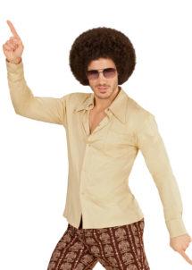 chemise disco, chemise années 70, Chemise Disco Groovy 70, Beige