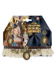 collier steampunk, accessoire steampunk, boucles d'oreilles steampunk, accessoires déguisement steampunk, Collier Steampunk Tour de Cou, avec Boucles