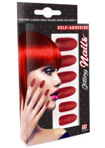 faux ongles rouges, faux ongles halloween, maquillage halloween, faux ongles déguisement, Faux Ongles Rouges Glitter, autoadhésifs