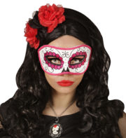 masque squelette mexicain, masque de déguisement, masque mexicain halloween, masque déguisement halloween, accessoire déguisement halloween masque, masque dia de los muertos, masque dia de la muerte, masque halloween, masque halloween day of death, jour des morts mexicain, masque jour de morts adulte, masque halloween femme Loup Jour des Morts, Paillettes Roses
