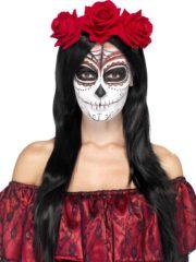 bandeau à fleurs, accessoire jour des morts halloween, couronne fleurs jour des morts déguisement, serre tête jour des morts déguisement, accessoire halloween, déguisement halloween jour des morts femme Bandeau à Fleurs, Roses Rouges, Jour des Morts