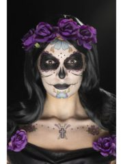 kit maquillage dia de los muertos, kit maquillage jour des morts, kit maquillage dia de los muertos, maquillage mort mexicaine, maquillage jour des morts, maquillage squelette halloween, maquillage halloween, faux tatouage halloween Kit de Maquillage Jour des Morts, Bleu et Violet