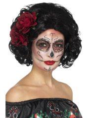 perruque jour des morts mexicaine, perruque dia de los muertos, perruque avec fleurs, perruque mexicaine, perruque halloween Perruque Jour des Morts, Dead Doll