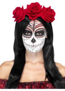 bandeau à fleurs, accessoire jour des morts halloween, couronne fleurs jour des morts déguisement, serre tête jour des morts déguisement, accessoire halloween, déguisement halloween jour des morts femme, Bandeau à Fleurs, Roses Rouges, Jour des Morts