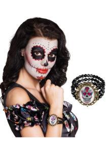 bracelet jour des morts, bijoux jour des morts mexicains, bijoux dia de los muertos, accessoire jour des morts, accessoire mort mexicaine, Bracelet Jour des Morts, Perles et Médaillon
