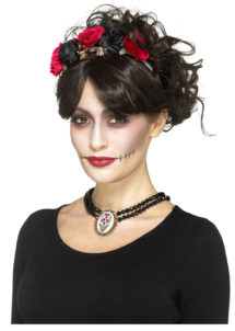 collier jour des morts, collier dia de los muertos halloween, bijoux halloween, accessoire déguisement halloween, collier halloween jour des morts, Collier Jour des Morts, Perles et Médaillon Mexicain