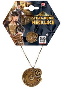 collier steampunk, accessoire steampunk, accessoire halloween, bijoux steampunk, Collier Steampunk, Médaille Rouages sur Chaine