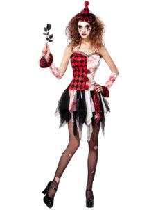 déguisement arlequine sinistre, déguisement clown halloween femme, déguisement halloween femme, déguisement de clown arlequin sinistre, Déguisement d'Arlequin Clown Sinistre