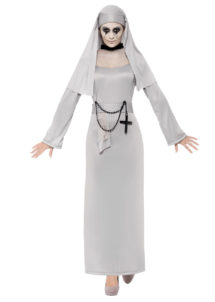 déguisement bonne soeur gothique, déguisement nonne gothique, déguisement religieuse, déguisement halloween femme, costumes halloween femme, déguisement nonne de la mort, Déguisement de Bonne Soeur, Nonne Gothique Grise
