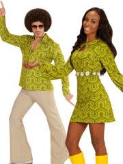 déguisement disco homme et femme, déguisement couple disco, déguisement disco couples, costumes disco couples, déguisement années 70 adulte, déguisement disco adulte Disco Wall Paper, Pantalon et Robe Tunique