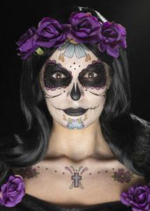 kit maquillage dia de los muertos, kit maquillage jour des morts, kit maquillage dia de los muertos, maquillage mort mexicaine, maquillage jour des morts, maquillage squelette halloween, maquillage halloween, faux tatouage halloween, Kit de Maquillage Jour des Morts, Bleu et Violet