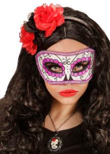 masque squelette mexicain, masque de déguisement, masque mexicain halloween, masque déguisement halloween, accessoire déguisement halloween masque, masque dia de los muertos, masque dia de la muerte, masque halloween, masque halloween day of death, jour des morts mexicain, masque jour de morts adulte, masque halloween femme, Loup Jour des Morts, Paillettes Violettes