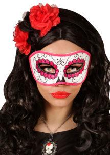masque squelette mexicain, masque de déguisement, masque mexicain halloween, masque déguisement halloween, accessoire déguisement halloween masque, masque dia de los muertos, masque dia de la muerte, masque halloween, masque halloween day of death, jour des morts mexicain, masque jour de morts adulte, masque halloween femme, Loup Jour des Morts, Paillettes Roses