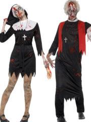 déguisement couple halloween, déguisement religieux zombie, déguisement zombie religieux, déguisement zombie curé, déguisement zombie nonne Déguisement Couple de Religieux Zombies