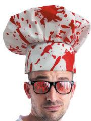 toque de cuisinier ensanglantée, chapeau halloween, accessoire halloween, toque de chef ensanglantée, toque de chef faux sang Toque de Chef Ensanglantée, Gore Halloween