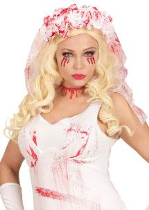 voile de mariée sanglant, accessoire halloween mariée de la mort, voile de mariée de la mort, voile de mariée faux sang, Voile de Mariée de la Mort, Fleurs et Faux Sang