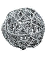 décorations de noël, décos de noël, boule de noël en rotin, boule de noël originale, boule de noël paillettes, boule de noël argent Boule en Rotin, Paillettes Argent, 12 cm