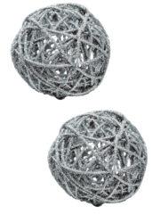 décorations de noël, décos de noël, boule de noël en rotin, boule de noël originale, boule de noël paillettes, boule de noël argent Boules en Rotin, Paillettes Argent, 7 cm, X 2