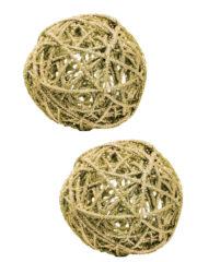 décorations de noël, décos de noël, boule de noël en rotin, boule de noël originale, boule de noël paillettes, boule de noël or, boule de noël dorée Boules en Rotin, Paillettes Or, 7 cm, X 2