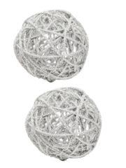décorations de noël, décos de noël, boule de noël en rotin, boule de noël originale, boule de noël paillettes, boule de noël blanche, boules de noël blanches Boules en Rotin, Paillettes Blanches, 7 cm, X 2