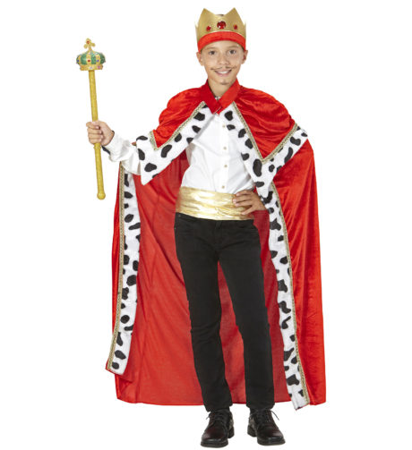 déguisement de roi pour enfant, cape de roi enfant, costume de roi enfant, cape et couronne de roi enfant, déguisement de roi garçon, cape de roi taille enfant, Cape de Roi avec Capeline et Couronne, Garçon