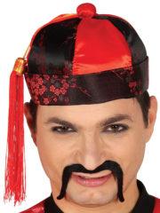 chapeau chinois, chapeau chinois de déguisement, accessoire déguisement chinois, nouvel an chinois, chapeau chinois tissu Chapeau Chinois, Tissu Satiné et Pompon