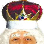 couronne de roi, couronne royale, couronne de roi déguisement, accessoire déguisement de roi, couronne de roi avec pierres Couronne Royale, Velours Rouge Foncé