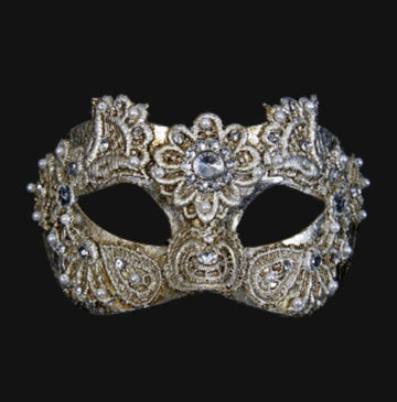 masque vénitien, loup vénitien, masque carnaval de venise, masque vénitien déguisement, accessoire déguisement carnaval de venise, déguisement carnaval de venise, masque vénitien fait main, masque macramé Vénitien, Civette Macramé, Argent et Brillants