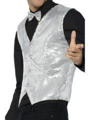 gilet argent déguisement, déguisement gilet paillettes, accessoire disco déguisement, gilet homme à paillettes, gilet homme déguisement, accessoire gilet pour homme, déguisement disco Gilet à Paillettes, Sequins Argent
