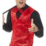 gilet rouge déguisement, déguisement gilet paillettes, accessoire disco déguisement, gilet homme à paillettes, gilet homme déguisement, accessoire gilet pour homme, déguisement disco Gilet à Paillettes, Sequins Rouges