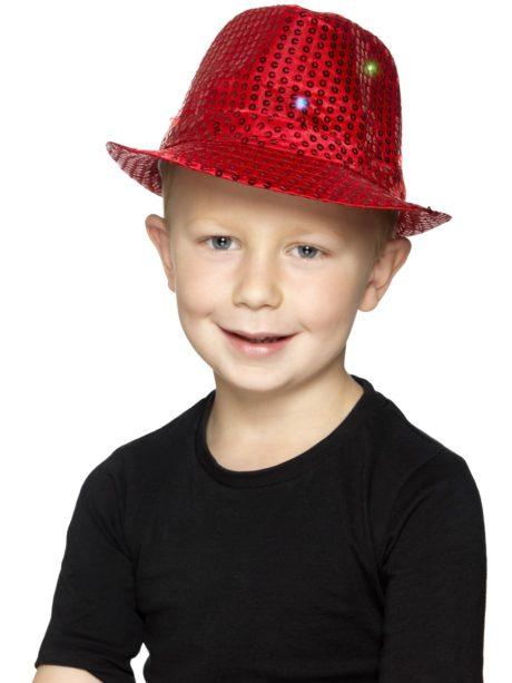 chapeau rouge, chapeaux paillettes, chapeaux borsalino paillettes, chapeaux borsalino paris, chapeaux années 30 paris, chapeaux de fête, accessoires chapeaux, chapeaux lumineux, chapeaux clignotants, chapeaux led, chapeaux de fête Chapeau Borsalino Lumineux, Paillettes Rouges