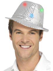 chapeau argent, chapeaux paillettes, chapeaux borsalino paillettes, chapeaux borsalino paris, chapeaux années 30 paris, chapeaux de fête, accessoires chapeaux, chapeaux lumineux, chapeaux clignotants, chapeaux led, chapeaux de fête Chapeau Borsalino Lumineux, Paillettes Argent