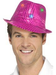 chapeau rose, chapeaux paillettes, chapeaux borsalino paillettes, chapeaux borsalino paris, chapeaux années 30 paris, chapeaux de fête, accessoires chapeaux, chapeaux lumineux, chapeaux clignotants, chapeaux led, chapeaux de fête Chapeau Borsalino Lumineux, Paillettes Fuchsia