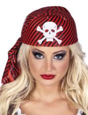 coiffe de pirate, chapeau de pirate, accessoire de pirate, déguisement de pirate accessoires Coiffe de Pirate, Rouge et Noire, Tête de Mort